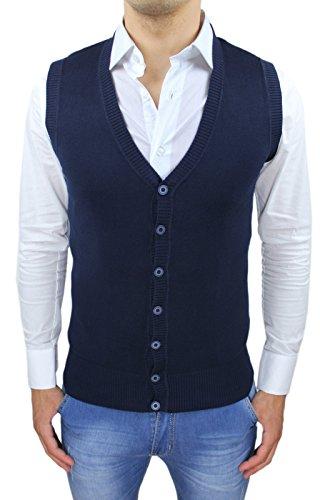 AK collezioni Gilet Smanicato uomo blu Slim Fit casual elegante corpetto maglia a cardigan (S)