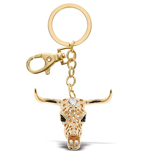 Aqua79 Longhorn Skull Keychain - Gold 3D Sparkling Charm Rhinestones Fashionable Stylish Metal Alloy Durable Key Ring Bling Crystal Jewelry Accessory With Clasp For Keychain, Purse, Backpack, Handbag