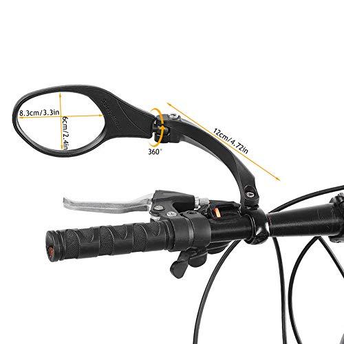 Dilwe Fahrrad Rückspiegel für Lenker, Edelstahl Fahrradspiegel, verstellbar, 360° Drehungsüberprüfung, Rückspiegel für 22,2 mm Rennrad Mountainbike, Links, rechts - 2