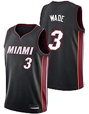 Shelfin - Camiseta de baloncesto de la NBA de Miami Heat del número 3 Wade, transpirable, grabada