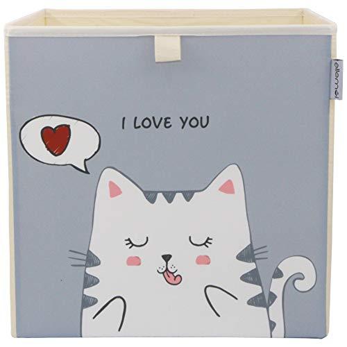 Kinder Aufbewahrungsbox von ELLEMOI Faltbare Spielzeug Box (33x33x33) zur Aufbewahrung im Kallax Regal (Lovely Katze)