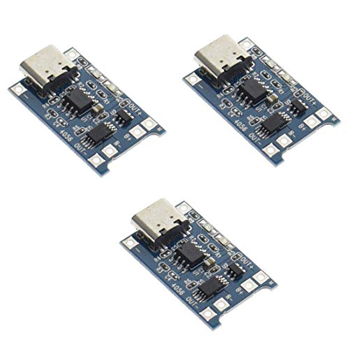 HiLetgo 3pcs TP4056 Type-C USB Charging Module 5V 1A 18650 Lithium Battery Charger Module Charging Board with Dual Protection