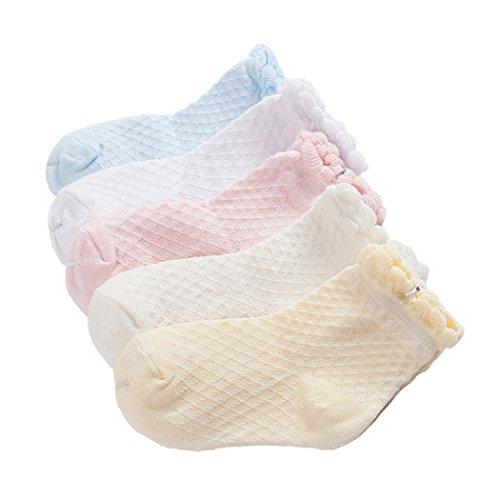 DEBAIJIA Calcetines Bebé Niñas Diseño Calcetines Finos De encaje Algodón Cómodo Respirable Lindo Malla Primavera Verano Varios Colores 0-12 meses (Pack de 5 Pares)