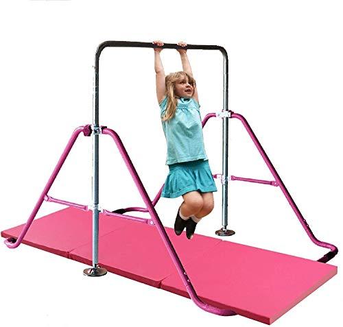 Athletic Bar Monkey Bar Horizontal Bars Children Junior Training Play Height Adjustable Folding Balance Bar Pink with 6' x 2' Gymnastic Mat