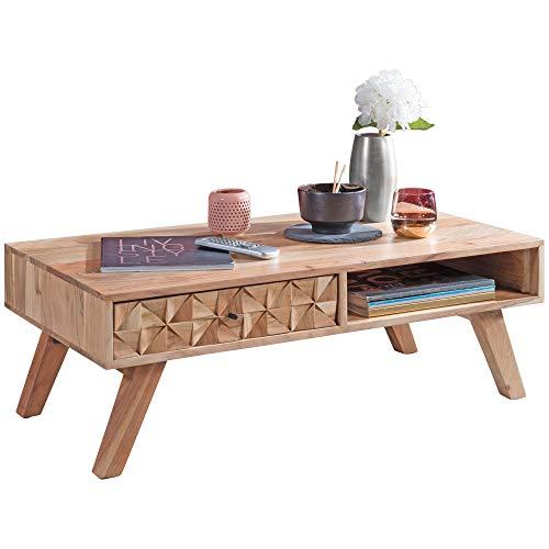 FineBuy Couchtisch RAWI 95x35x50 cm Akazie Massivholz Sofatisch   Design Wohnzimmertisch mit Schublade   Stubentisch Landhaus braun   Designer Holztisch Kaffeetisch massiv   Tisch Wohnzimmer modern