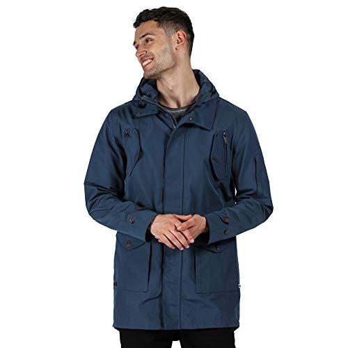 Regatta Men's Macarius' Breathable Lined Hooded Outdoor Parka Jackets Waterproof Shell, Dark Denim, L