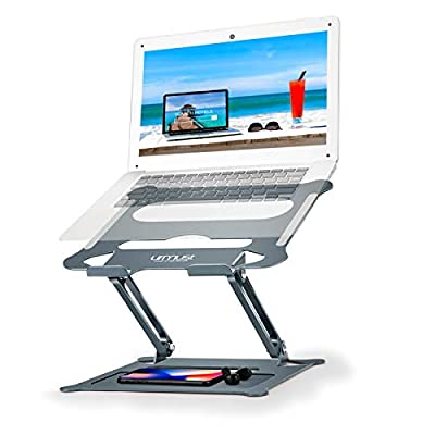 """Urmust Laptop Notebook Stand Holder, Ergonomic Adjustable Ultrabook Stand Riser Portable with Mouse Pad Compatible with MacBook Air Pro, Dell, HP, Lenovo Light Weight Aluminum Up to 15.6""""(Blue) …"""