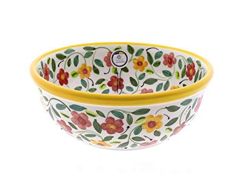 CERÁMICA RAMBLEÑA | Ensaladera cerámica | Ensaladeras Originales | Ensaladeras decoración Amarillo - Modelo 04 | 100% Decoración a Mano | 24x24x9 cm
