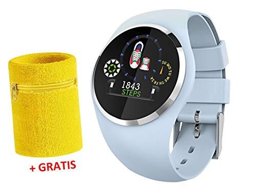 Fitness Tracker mit Herzfrequenz Blutdruck Schlaf Schritte Farbdisplay Smartwatch Armband Uhr mit Schweißband - 9703-5 SB