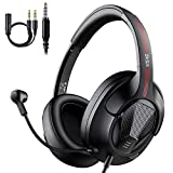 Gaming Headphones Headset with Microphone, EKSA Air Joy Ultralight Stereo Surround Sound PC Computer Gaming Headset with Mic Overear Headset Headphones for PS4 Xbox One PC Smartphones, Black (Renewed)