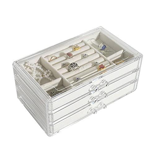 Bract Caja de joyería de franela de 3 capas, caja de joyería transparente grande para collares, pulseras, anillos y pendientes
