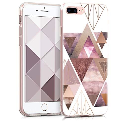 kwmobile Cover Compatibile con Apple iPhone 7 Plus / 8 Plus - Back Case Custodia in Silicone TPU Trasparente Fantasia Triangolare Rosa/Oro Rosa/Bianco