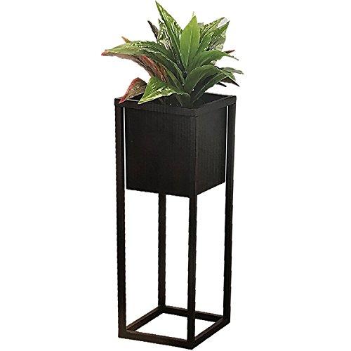 GEEZY Macetero cuadrado de metal negro con soporte elevado, maceta de jardín...