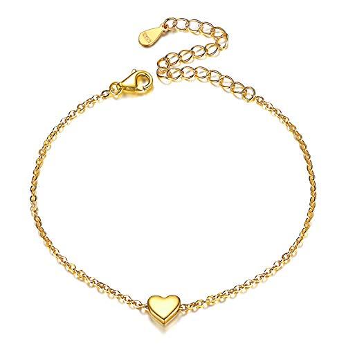 ChicSilver Corazón Amor Pulsera de Mano Cadena Elegante Ajustable Plata de Ley 925 Oro Amarillo 18K Dorada Joyería Moderna para Muñeca Madre Novia Hija Amiga