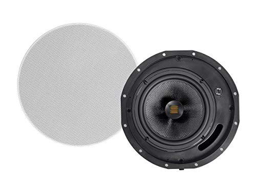 Monoprice Amber 2-Way Carbon Fiber Ceiling Speakers - 6.5 Inch with Magnetic Grille and Ribbon Tweeter (Pair)