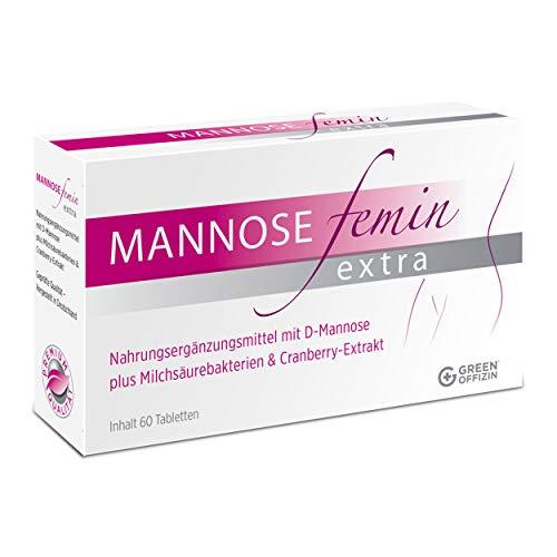 Mannose Femin Extra - Blasenentzündung und Harnwegsinfekte behandeln + vorbeugen I D-Mannose, Milchsäurebakterien & Cranberry Extrakt für Frauen I kein Pulver I 100% natürlich + vegan (60 Tabletten)