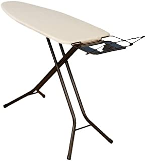 Household Essentials 974406-1 Extra Wide Top 4-Leg Large Ironing Board | Natural Cotton Cover and Iron Holder Stand | Bronze