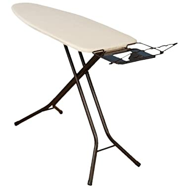 Household Essentials 974406-1 Extra Wide Top 4-Leg Large Ironing Board | Natural Cotton Cover Iron Holder Stand | Bronze