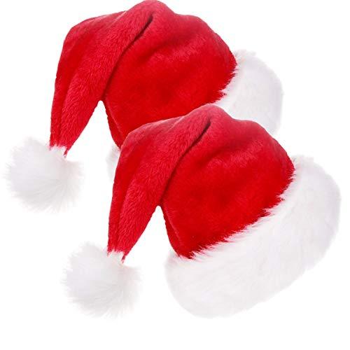 Jonami 2 Weihnachtsmütze in Plüsch. 2 Nikolausmütze Weihnachtsmann Mütze Rot fur alle Erwachsene Einheitsgröße. Weihnachtszubehör