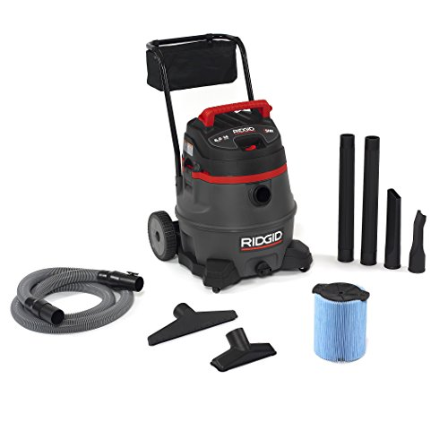 Ridgid 50348 1400rv wet dry vacuum with cart, 14-gallon shop vacuum with 6. 0 peak hp motor, casters, pro hose, drain, blower port, accessory storage