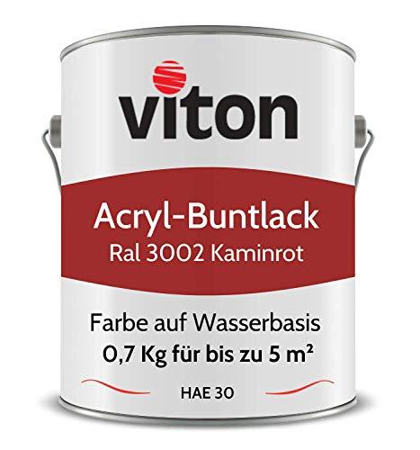 Buntlack von Viton - 0,7 Kg Rot - Seidenmatt - Wetterfest für Außen und Innen - 2in1 Grundierung & Lack - HAE 30 - Nachhaltige Farbe auf Wasserbasis für Holz, Metall & Stein - RAL 3002 Kaminrot