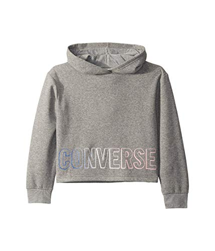 Converse Kids Girl's Fleece Glitter Wordmark Logo Pullover Hoodie (Big Kids) Dark Grey Heather LG (12-14 Big Kids)