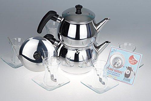 B&E's oriental living Orginal türkisches Tee Set Teeset 'Basic Plus M'/ 6 klassische Gläser/ 6 Rührlöffel (von KD)/ 6 Untersetzer/ 1 Teekocher Teekannen Set (Marke ÖK) Größe M (1,6 & 0,8 Liter)/ 1 Siebeinsatz für die Teekanne