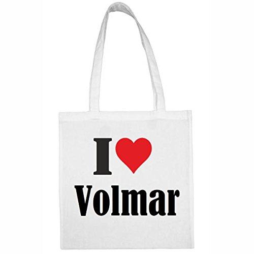 Tasche I Love Volmar Größe 38x42 Farbe Weiss Druck Schwarz