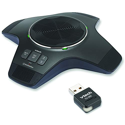 VTech VCS855 Wireless Conference Speakerphone w/DECT USB Dongle for Home Office Secured HD Voice Full Duplex Speakerphones 25M Range Portable (Optional Rechargeable Battery) for up to 8 People