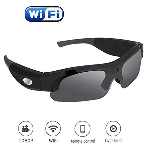 Wlehome WiFi Video Sonnenbrille, 1080P Video-Recorder-Kamera-Gläser mit UV-Schutz polarisierte Linse, Unisex-Design für Sport, Reiten, Angeln, Fahren, Motorrad,Schwarz