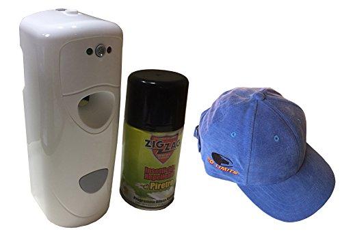 Erogatore Automatico Di Insetticida Liberatore Ebano. Dispenser Universale In Kit Con 1 Bombola Di Ricarica Da 250 Ml In Omaggio