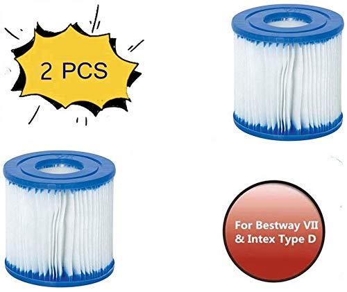 HHDL para Bestway VII e para Intex tipo D, cartucho de filtro de repuesto fácil de usar para piscinas (2 unidades)