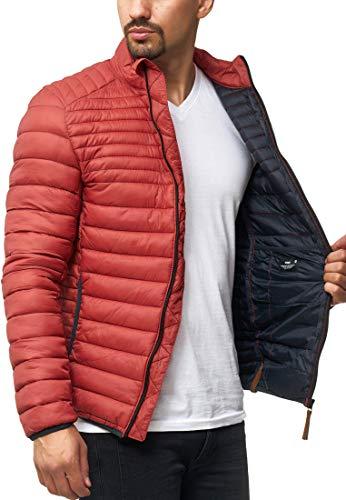 Indicode Herren Islington Steppjacke in Daunenjacken-Optik mit Stehkragen | gefütterte sportliche Übergangsjacke Moderne leichte Winterjacke modische Jacke für Männer Red Ochre 3XL