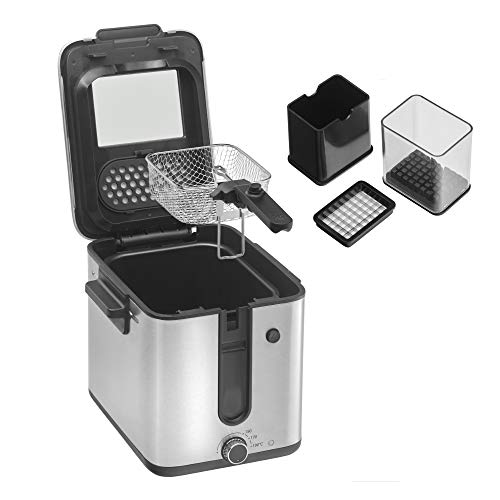 WMF Küchenminis Mini Friteuse mit Fett/ Öl, Fritteuse mit Kartoffelschneider, 1000 W, herausnehmbarer Ölbehälter, für knusprige Pommes, edelstahl matt