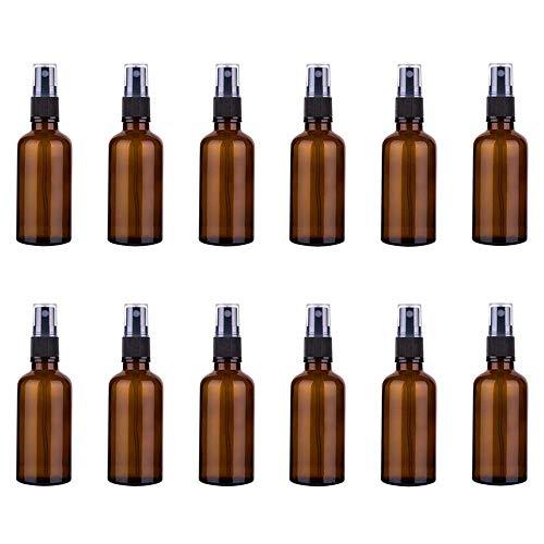 Spray Botellas,12 Pcs Glass Spray Bottles,50 ml Botella de Spray,Amber Glass Bottles,Reutilizable,Para Aceites Esenciales, Mezclas de Aromaterapia,Perfumes,Planta,LíQuidos QuíMicos, FarmacéUtico