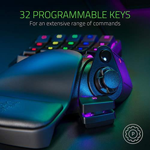 Razer Tartarus Pro - Gaming Keypad (Gamepad mit analog-optischen Tasten, 32 programmierbare Tasten, anpassbarer Auslösepunkt, Profile, Handballenauflage, RGB Chroma Beleuchtung) Schwarz