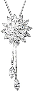 Sukkhi Crystals from Swarovski Rhodium Plated Floral Necklace for Women and Girls (N73909)