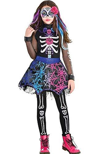 Forever Young Disfraz de calavera de azúcar para niñas del día de los muertos incluye: vestido + clip para el pelo + medias
