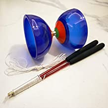 """OVOKIA Five Bearings Chinese Yoyo 5"""" Diabolo Toy with Fiberglass Diablo Sticks & String with Drawstring Bag (Translucent Blue)"""