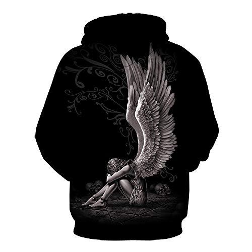 Hoodie Mens 3D Digital Print Angel Wings Skull Large Size Hoodie Sweatshirt-We-1555_XL
