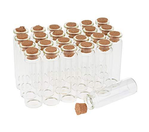 24 Glasröhrchen mit Korken Glasflaschen Klein Korkenflaschen ca. 7cm hoch 20ml Hochzeit Mitgebsel Fläschen Glasröhrchen VBS Großhandelspackung