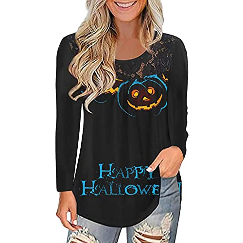 Neferlife Halloween Long-Sleeved Top,Women's Lace Hollow T-Shirt Halloween Pumpkin Smiley Print Stitching Crewneck T-Shirt Pullover Top(Black,XXL)