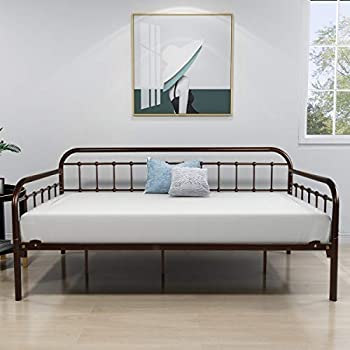 Metal Daybed Frame Twin Metal Slats Platform Base Box Spring Replacement Bed Sofa for Living Room Guest Room  Twin Dark Copper