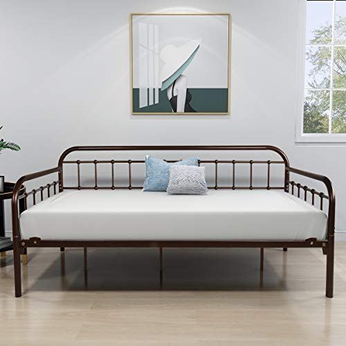 Metal Daybed Frame Twin Steel Slats Platform Base Box Spring Replacement Bed Sofa for Living Room Guest Room (Twin, Dark Copper)