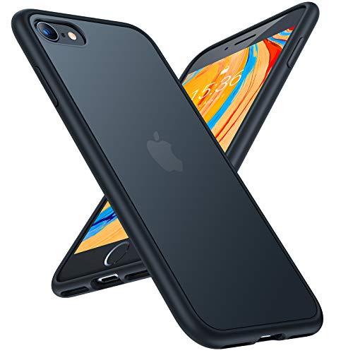 TORRAS Shockproof Compatible for iPhone SE 2020 Case & Compatible for iPhone 8 Case [Military Grade Drop Test] Translucent Matte Hard Back & Soft Bumper Slim Compatible for iPhone 7 case, Black