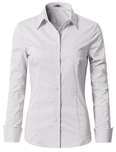 Doublju Womens Slim Fit Plus Size Business Casual Long Sleeve Button Down Dress Shirt White 1X