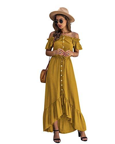 Yidarton Sommerkleid Damen Lang Kurzarm Schulterfreies Kleid Sommer Maxikleid RüSchen Strandkleid Lang mit KnöPfen und Tunnelzug (Gelb, L)