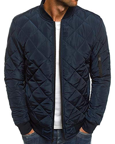 Mens Bomber Jackets Rib Diamond Quilted Winter Chunky Flight Varsity Windproof Padded Coat