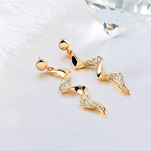 EHXWL Orecchino Lungo a Forma di Fulmine a Spirale per Donna Regali di Gioielli in Cristallo Oro Argento Nero Orecchini Color Oro