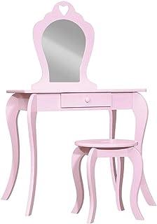 Keezi Kids Vanity Dressing Table Stool Set Mirror Drawer Children Makeup Pink